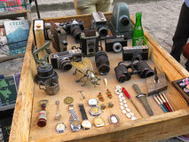 Second hand market in Havana. Cuba, Havana - 08 April, 2016: nice old retro second hand market in the centre of Havana with retro vintage objects like old  coins Royalty Free Stock Image