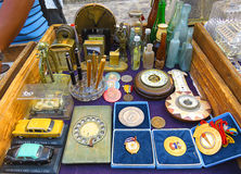 Second hand market in Havana. Cuba, Havana - 08 April, 2016: nice old retro second hand market in the centre of Havana with retro vintage objects like old  coins Royalty Free Stock Photo