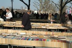 Second hand open air book maket by the Thames. Stock Image