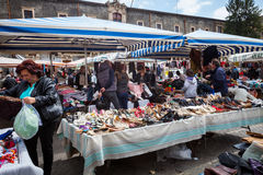 Second hand open air Sicilian market . Catania, Italy. Royalty Free Stock Image