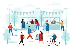 Second hand shop. Flea market, street shop trading stalls and fashion clothes swap. People selling cloth flat vector vector illustration