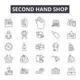 Second hand shop line icons, signs, vector set, linear concept, outline illustration. Second hand shop line icons, signs, vector set, outline concept, linear stock illustration