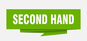 Second hand. Sign.  paper origami speech bubble.  tag.  banner stock illustration