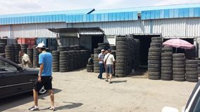 Second Hand Tire Market Royalty Free Stock Photos