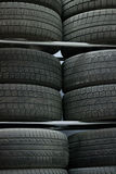 Second-hand tires. Neatly folded Royalty Free Stock Image