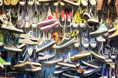 Second-hand trainers at Chatuchak Market, Bangkok. CHATUCHAK MARKET, BANGKOK - March 13, 2015 - Second-hand trainers at Chatuchak Market, Bangkok. Chatuchak is Royalty Free Stock Photography