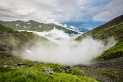 Transfagarasan road on Fagaras mountain , Romania. The second highest road in Romania, the Transfagarasan is a very spectacular road in Romania. Here, at 2000m Royalty Free Stock Images