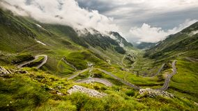 Transfagarasan road on Fagaras mountain , Romania. The second highest road in Romania, the Transfagarasan is a very spectacular road in Romania. Here, at 2000m Royalty Free Stock Photography