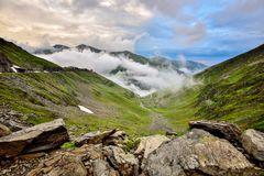 Transfagarasan road on Fagaras mountain , Romania. The second highest road in Romania, the Transfagarasan is a very spectacular road in Romania. Here, at 2000m Royalty Free Stock Photos