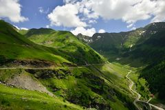 Transfagarasan road on Fagaras mountain , Romania. The second highest road in Romania, the Transfagarasan is a very spectacular road in Romania. Here, at 2000m Stock Image