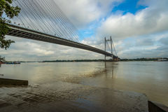 Second Hooghly river bridge - the longest cable stayed bridge in India. Photograph taken from Princep Ghat Kolkata royalty free stock photos