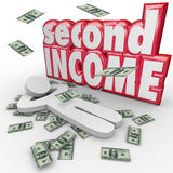 Second Income Money Falling Side Job Work Earn More Cash. Second Income words and money falling around a person to illustrate a secondary job or side work to royalty free illustration