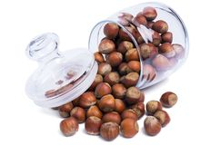 The second jar with hazelnuts stock photo