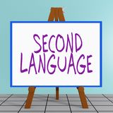 Second Language concept. 3D illustration of SECOND LANGUAGE title on a tripod display board Stock Photography