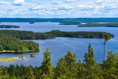 Second largest lake in Finland. This is lake Päijänne, the second largest lake in Finland, as seen from the observation tower of Oravivuori royalty free stock images