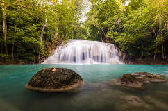 The second level of Erawan Fall. Thailand Stock Image