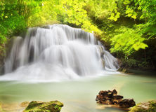 Second level of Huai Mae Kamin Waterfall i Stock Image