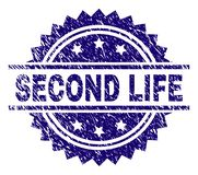 Scratched Textured SECOND LIFE Stamp Seal. SECOND LIFE stamp seal watermark with distress style. Blue vector rubber print of SECOND LIFE label with dirty texture vector illustration