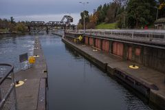 The second lock of the Panama canal from the Pacific ocean. Stock Photo