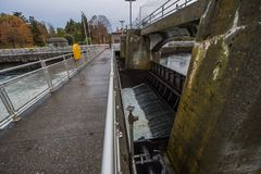 The second lock of the Panama canal from the Pacific ocean. Royalty Free Stock Image