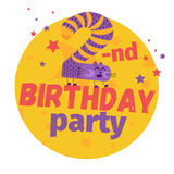 Second or 2-nd birthday party greeting card or postcard. Cartoon Royalty Free Stock Images