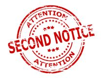Second notice. Stamp with text second notice inside,  illustration Royalty Free Stock Photography