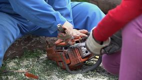 Second person help fix chainsaw holding chain. Broken chainsaw while cutting logs. Slow motion unscrewing chain stock video