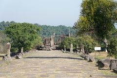 Second pillared causeway of Preah Vihear Temple, Cambodia. Preah Vihear,Cambodia-January 10, 2019: Second pillared causeway of Preah Vihear Temple, Cambodia stock images