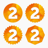Second place award sign. Winner symbol. Step two. Triangular low poly buttons with flat icon. Vector Stock Photo
