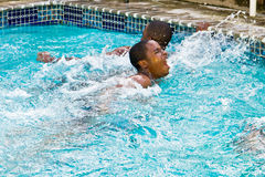 swimming second place finish stock photography
