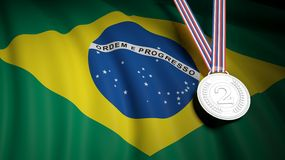 Second place medal against of waving Brazil flag Royalty Free Stock Images