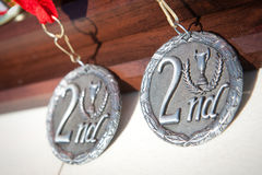 Second Place Medal. Two second place silver medals Royalty Free Stock Image