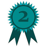 Second place prize badge with ribbons icon Royalty Free Stock Images