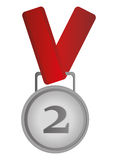 Second place prize medal icon. Simple flat design second place prize medal icon  illustration Royalty Free Stock Photography
