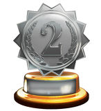 Second place silver award, number two, clipping mask. 3d render of silver second place trophy Royalty Free Stock Photography