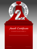 Second place silver prize award certificate Royalty Free Stock Images