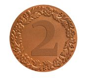 Medal for awarding. The second place winners medal as success achievement concept Stock Image