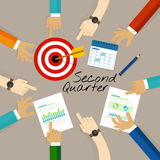 Second quarter business report target corporate financial result. Vector Royalty Free Stock Photography