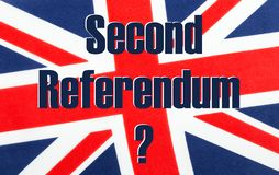 Second Referendum written on a British Union jack flag. Second Referendum with a question mark written on a British Union jack flag. Photograph with added text stock photography