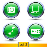 Second set of four realistic icons. Illustration of second set of four realistic icons with green color and shadows such as photocamera, navigator, joypad royalty free illustration