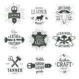 Second set of grey vector vintage craftsman logo Stock Photos