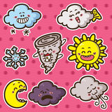 Second set of kawaii weather icons. Collection of cute kawaii vector weather icons Stock Photography