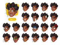 The second set of male facial emotions with curly hair Stock Photo