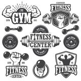 Second set of monochrome fitnes emblems Stock Images