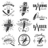 Second set of vintage barber shop emblems. Set of vintage barber shop emblems, label, badges and designed elements. Monochrome linear style vector illustration