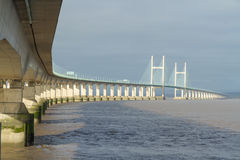 Second Severn Crossing, Bridge Over Bristol Channel Between England And Wales. Five Kilometres Or Three And One Third Miles Long Royalty Free Stock Photo