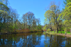 Second southern pond on Elagin Island in St. Petersburg, Russia Royalty Free Stock Photo