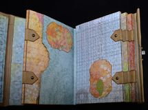 Second spread of a small old-looking photoalbum.  Stock Image