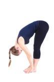 Second step of Yoga surya namaskar janubhalasana Stock Photography