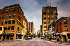 Second Street in downtown Harrisburg, Pennsylvania. Royalty Free Stock Photography
